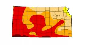 This map shows dry conditions covering most of the state of Kansas.