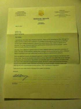 Missouri Senator Ed Emery's letter explains his reasons for opposing Medicaid expansion.