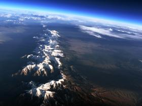 The Sangre de Cristo Range, as seen from John Flaig's near space balloon that he launched in Colorado last April.