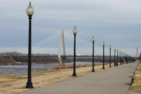 A view of the Kit Bond Bridge from Berkley Riverfront Park.