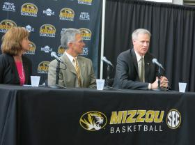 Kansas City Sports Commission President Kathy Nelson, MU Athletics Director Mike Alden and men's basketball coach Kim Anderson announce a match-up between Mizzou and Oklahoma State Dec. 30.