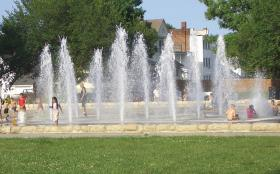 The Northeast Concourse Fountain is a gathering place in the historic northeast neighborhood of Kansas City, Mo.