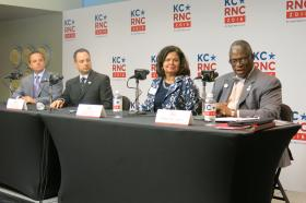 Mayor Sly James joined RNC committee members at a press conference during their site visit to Kansas City in early June.