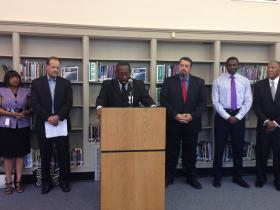 Kansas City Public Schools Superintendent R. Stephen Green speaks at a press conference to announce a new charter school partnership with Academie Lafayette.