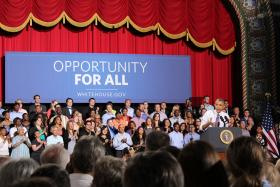 President Obama spoke to a packed Uptown Theatre on Thursday, touting his economic successes and calling for more help for the middle class.