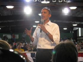 Obama in a 2008 appearance in Terre Haute, Ind.