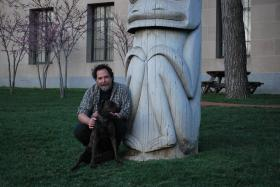 Artist David Goodrich outside the Nelson-Atkins Museum of Art, Kansas City, Mo.