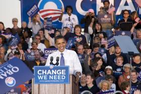 President Obama visited Kansas City in 2008 on the campaign trail. Wednesday morning, he speaks to a crowd at the Uptown Theater.