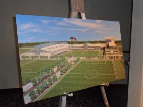 A rendering on display at the announcement at Sporting Park in Kansas City, Kan., shows what the facility may look like.