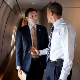 Josh Earnest, White House Press Secretary and Kansas City native, with President Obama, courtesy of his Twitter account, @jearnest44.