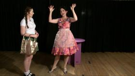 Mary Sue (Kenna Hall) and her mother (Ellen Kirk) rehearse a scene from '(Virgin.)'