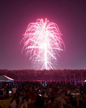 Thousands enjoy the KC Riverfest fireworks show at Berkley Riverfront Park.