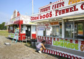 Food vendors are setting up at the Wyandotte County Fair.