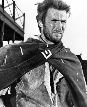 "Clint Eastwood, the young American star in the 1964 Italian Western, ""A Fistful of Dollars"""
