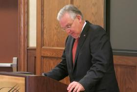 Missouri Gov. Jay Nixon tells the Eastern Jackson County Betterment Council tax cuts he vetoed could have a detrimental impact on local revenues.