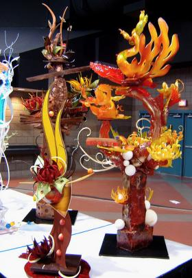 Chefs at the American Culinary Federation conference create complicated food items, such as these sugar sculptures.