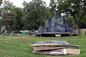 Crew members pull down 'The Winter's Tale' set.
