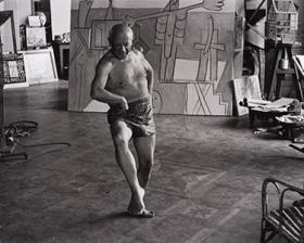 A photograph of Pablo Picasso, taken in 1957 by David Douglas Duncan. In 2013, Duncan donated 161 inkjet prints of Picasso to the museum.