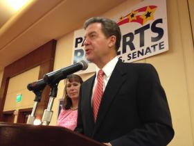 Gov. Sam Brownback addressed supporters at a watch party on Tuesday night.