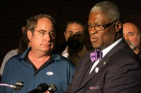 Kansas City, Mo., Mayor Sly James, right, thanked Councilman Jim Glover and other city officials for their support during the streetcar campaign. Voters rejected an expansion proposal Tuesday.