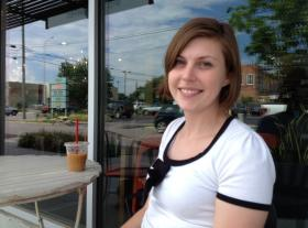 Emily Robbins, 27, at a Kansas City coffee house.