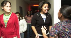 These students act out and witness scenes in KU's Tunnel of Oppression, a program that asks college students to confront uncomfortable social dynamics.