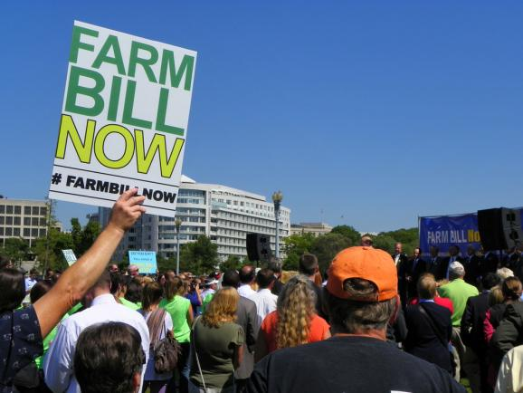 Supporters of the farm bill attend a rally organized by Farm Bill Now, a coalition of ag-related interest groups, in Washington D.C. Sept. 12.