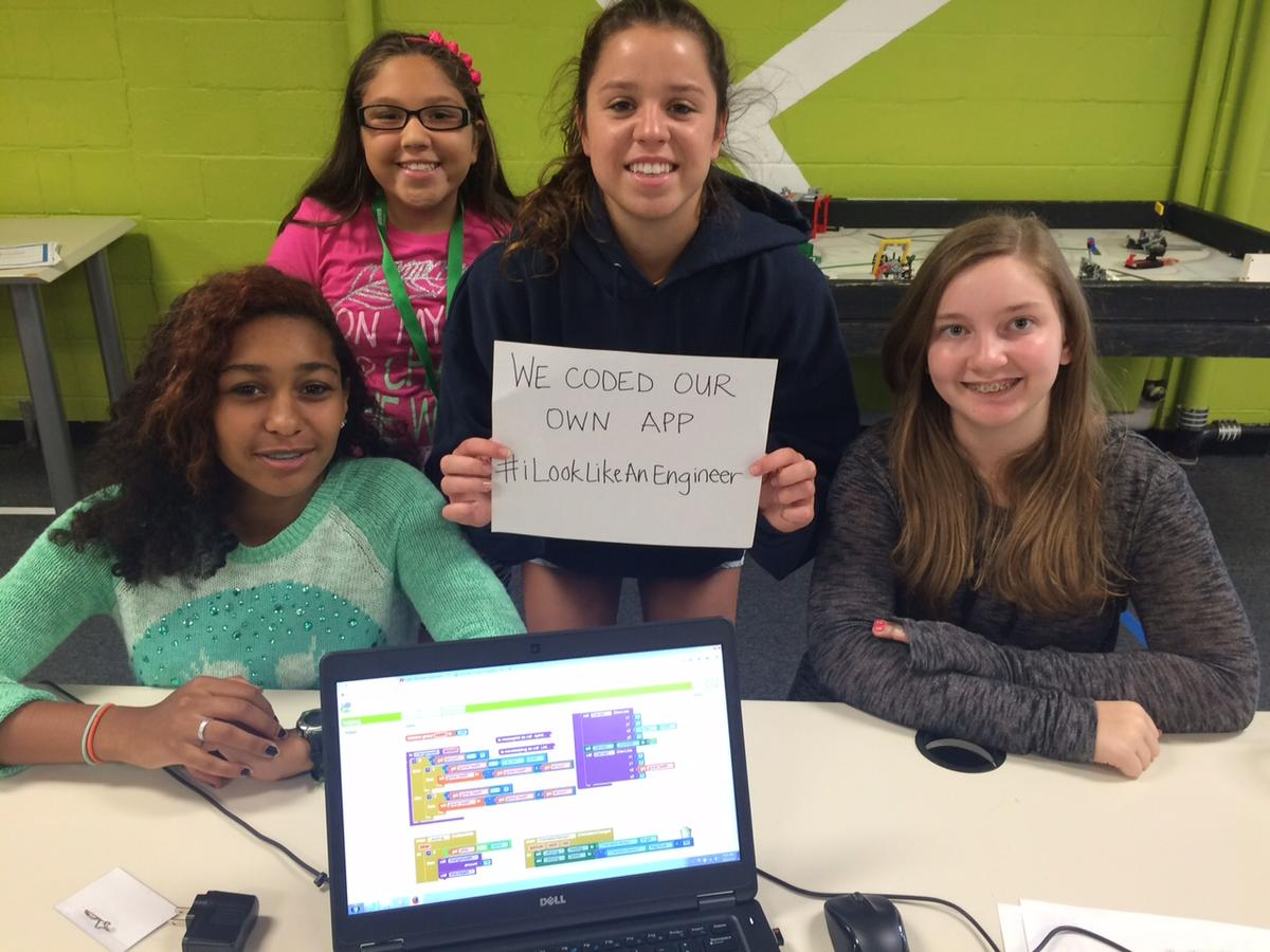Girls worked in teams to program applications for Android phones and heard from professional women programmers from around the metro.