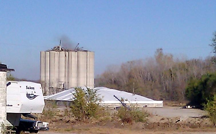 Bartlett elevator in Atchison, KS  still smouldered, day after deadly grain dust blast.