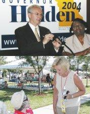 Governor Holden with Senator Mary Bland at campaign office opening.  Challenger McCaskill campaigns in the park July 4th.
