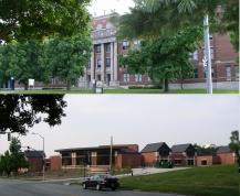 Southwest High School (top) and the new University Leadership Academy charter school - two fine facilities one mile apart on the map, 80 years apart in age.