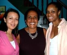 Peruvian musician Susana Baca (center) with KU professors Yajaira Padilla and Judith Will.