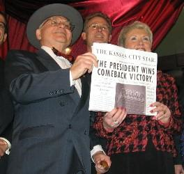 Kansas City Mayor Kay Barnes celebrates the grand re-opening of the historic President Hotel with Harry Truman impersonator Neil Johnson.