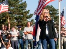 Joyce Mucci of the Mid America Immigration Reform Coalition organized the No Amnesty Rally.