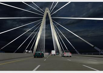 Lighted at night, the new bridge will present a dramatic view to motorists that cross it.