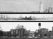 Three photos from the IU Art Museum's collection of Art Sinsabaugh's photography. Top: Midwest Landscape #60. Middle: Chicago Landscape #122. Bottom: Chicago Landcape #66. Copyright 2004, Katherine Anne Sinsabaugh and Elisabeth Sinsabaugh de la Cova.