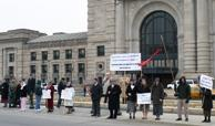 Protesters Line Up Outside Union Station