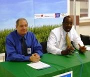 "Dr. Jay Portnoy [L] and Dr. Willie Lawrence [R] discuss harms of secondhand smoke at ""Breathe Easy KC\"" campaign event"