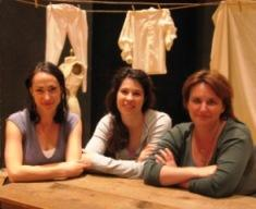 Vanessa Severo as Bianca, Ashley LaPine as Desdemona, and Karen Errington as Emilia in <I>Desdemona, a play about a handkerchief</I>