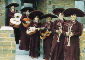<i>Mariachi Estrella</i> in 1979: From left to right:  Rachel Galvan (Sangalang), Dolores Galvan, Consuelo Alcala, Teresa Cuevas (director), Linda Scurlock, Lola Carmona.  Not pictured: Isabel Gonzalez.