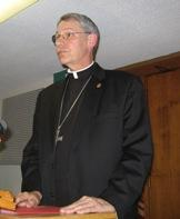 Robert W. Finn, Bishop of KC-St Joseph Diocese with  reporters at chancery  offices.
