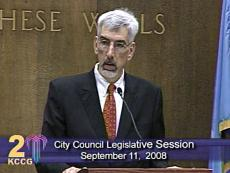 Mayor Mark Funkhouser's expression was solemn as he told council members that he will work to reverse the ordinance that ends his wife's full-time volunteer service.