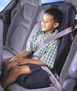 Proper safety restraints for children 4 through 8 and under 80 pounds. Note that the booster seat and the child are secured by the seat belt.