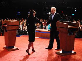 VP Candidates Sarah Palin (R) and Joe Biden (D)