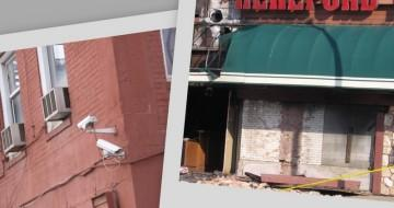 damage to   restaurant facade,  surveillance cams, 20th and Main.