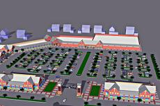 Click on the image for a larger view of the proposed layout of the Citadel Square Shopping Center at 63rd and Prospect.
