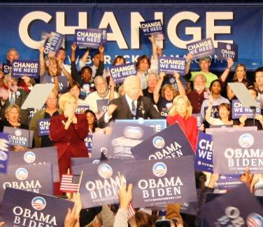 Senator Joe Biden campaigns flanked by Senator Clair McCaskill, and his wife Jill Biden.