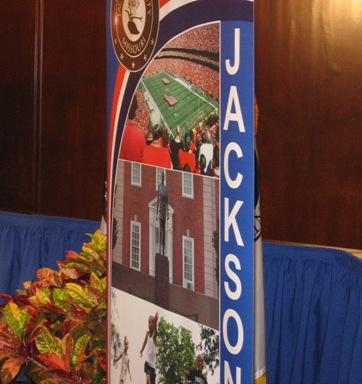 backdrop to Jackson County Legislature chamber.