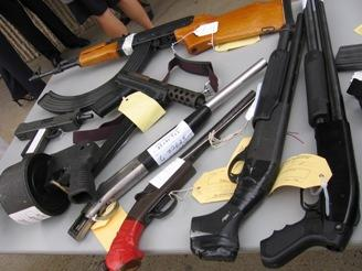 various  guns confiscated by KC police in 2008