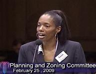 ACLU board member Lisa Watson speaks against the Power and Light District dress code.